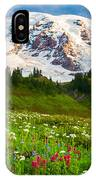 Mount Rainier Flower Meadow IPhone Case