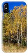 Mountain Grasses Autumn Aspens In Deep Blue Sky IPhone Case