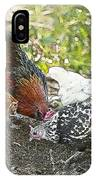 Mr. Rooster And All The Chickens Scratching For A Snack IPhone Case
