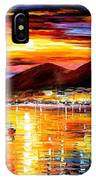 Naples-sunset Above Vesuvius - Palette Knife Oil Painting On Canvas By Leonid Afremov IPhone Case