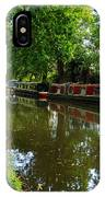 Narrowboats Moored On The Wey Navigation In Surrey IPhone Case