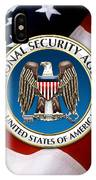 National Security Agency - N S A Emblem Emblem Over American Flag IPhone Case