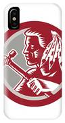 Native American Tomahawk Warrior Circle IPhone Case