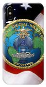 Naval Special Warfare Group Four - N S W G-4 - Over U. S. Flag IPhone Case