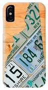 New Hampshire License Plate Map Live Free Or Die Old Man Of The Mountain IPhone Case