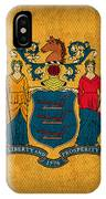 New Jersey State Flag Art On Worn Canvas IPhone Case
