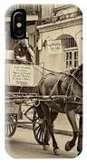 New Orleans - Carriage Ride Sepia IPhone Case