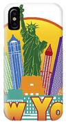 New York City Colorful Skyline In Circle Illustration IPhone Case