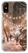 New York City - Winter Snow Scene - East Village IPhone Case by Vivienne Gucwa