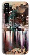 Night City Reflections Watercolor Painting IPhone Case