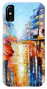 Night Umbrellas - Palette Knife Oil Painting On Canvas By Leonid Afremov IPhone Case