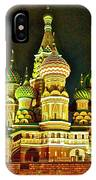 Night View Of Saint Basil Cathedral In Red Square In Moscow-russia IPhone Case