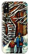 No School Today Out For A Snowy Walk Verdun Winter Winding Staircases Montreal Paintings C Spandau IPhone Case