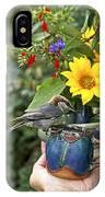 Nuthatch Bird Having Tea IPhone Case