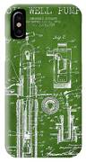 Oil Well Pump Patent From 1912 - Green IPhone Case