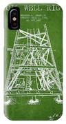 Oil Well Rig Patent From 1893 - Green IPhone Case
