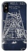 Oil Well Rig Patent From 1893 - Navy Blue IPhone Case