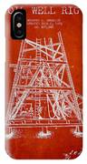 Oil Well Rig Patent From 1893 - Red IPhone Case