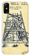 Oil Well Rig Patent From 1893 - Vintage IPhone Case