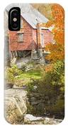 Old Barn And Dam In Autunm Vienna Maine IPhone Case