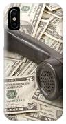 Old Black Phone Receiver On Money Background IPhone Case