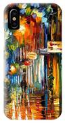 Old City Street - Palette Knife Oil Painting On Canvas By Leonid Afremov IPhone Case
