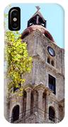 Old Clock Tower In Rhodes City Greece IPhone Case