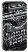 Old Fashioned Underwood Typewriter Bw IPhone Case