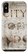 Old Grunge Stone Board With City Of London Text IPhone Case