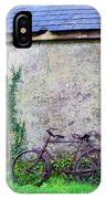 Old Irish Cottage With Bike By The Door IPhone Case