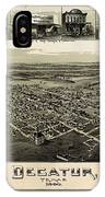 Old Map Of Decatur Texas 1890 IPhone Case
