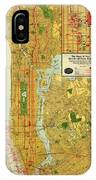 Old Map Of New York Central Railroad Manhattan Map 1918 IPhone Case