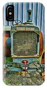 Old Metal Wheeled Tractor Hdr IPhone Case