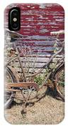 Old Rusty Bicycle With Basket Of Lavender Flowers IPhone Case