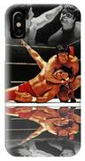 Old School Wrestling Headlock By Dean Ho On Don Muraco With Reflection IPhone Case