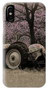 Old Tractor And Redbuds Sepia IPhone Case
