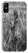 Old Wooden Fence Post In A Field IPhone Case
