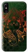 orange Lord Ganesha on green Mandala IPhone Case