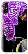 Orchids On Black Background IPhone Case
