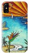 Original Coastal Surfing Whimsical Fun Painting Tropical Serenity By Madart IPhone Case