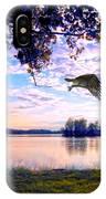Osprey Leaving Perch Sundown Lake IPhone Case