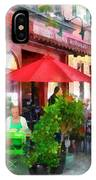 Outdoor Cafe With Red Umbrellas IPhone Case