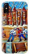 Outdoor Hockey Rink Winter Landscape Canadian Art Montreal Scenes Carole Spandau IPhone Case