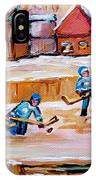 Outdoor Rink Hockey Game In The Village Hockey Art Canadian Landscape Scenes Carole Spandau IPhone Case