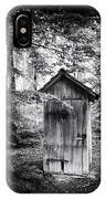 Outhouse In The Forest Black And White IPhone Case