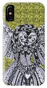 Owl In Flight Green IPhone Case