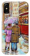 Paintings Of Fifties Montreal-downtown Streetcar-vintage Montreal Scene IPhone Case