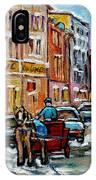 Paintings Of Old Port Quebec Vieux Montreal Memories Rue Notre Dame Snowscenes Art Carole Spandau IPhone Case