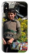 Pakistani Boy In Front Of Hotel Ruins In Swat Valley IPhone Case