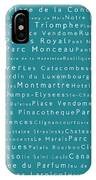 Paris In Words Teal IPhone Case